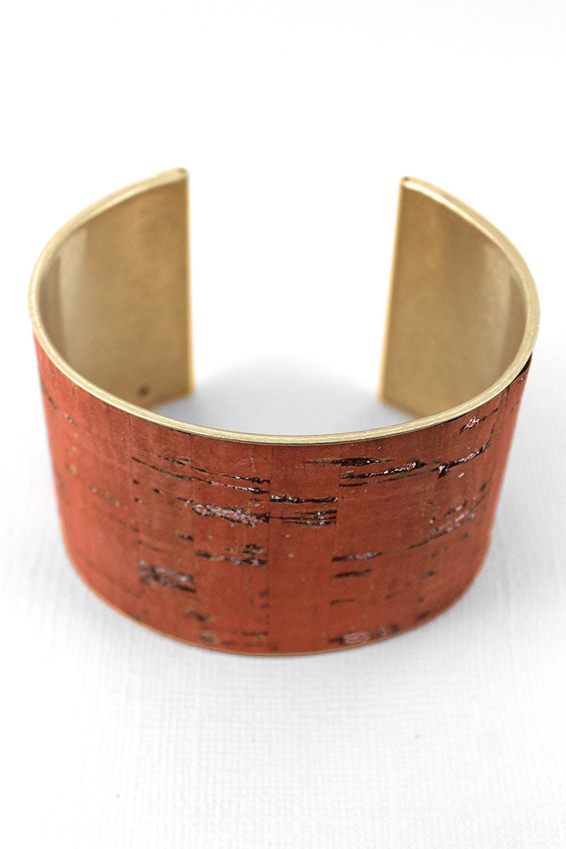 Coral Cork and Goldtone Cuff Bracelet