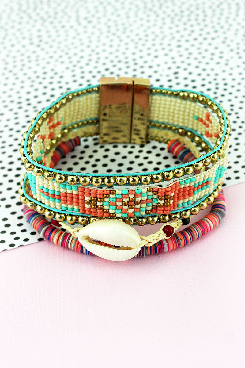 Multi-Color Disk and Seed Bead with Cowrie Shell Magnetic Bracelet