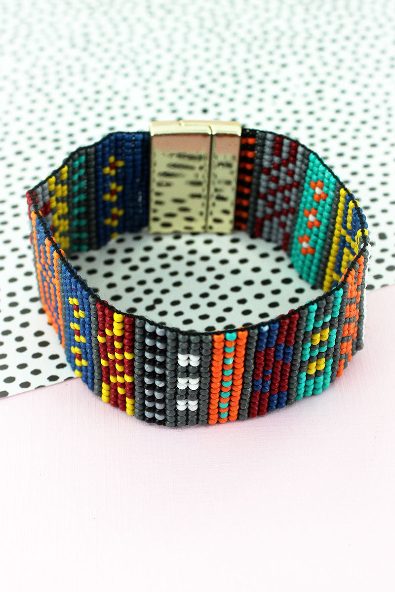 Multi-Color Seed Bead Geometric Magnetic Bracelet