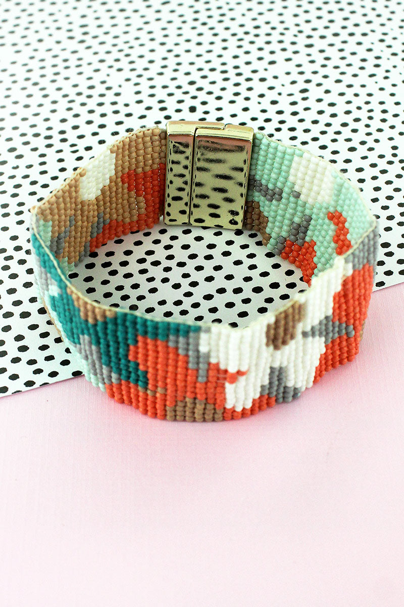 Multi-Color Seed Bead Flower Magnetic Bracelet