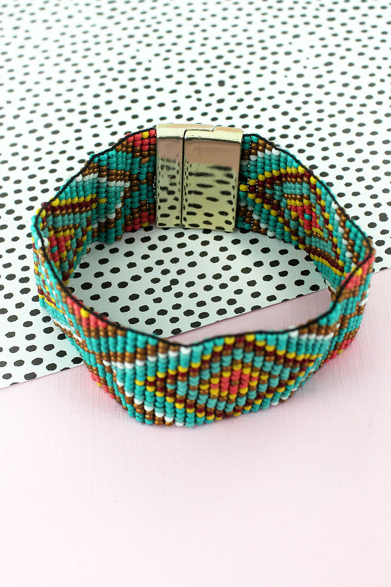 Multi-Color Seed Bead Diamond Magnetic Bracelet