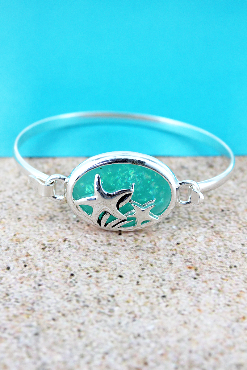 Turquoise Opal and Silvertone Starfish Oval Bracelet