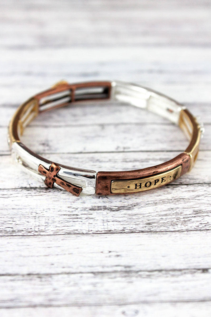 Tri-Tone 'Faith, Hope, Love' Stretch Bracelet
