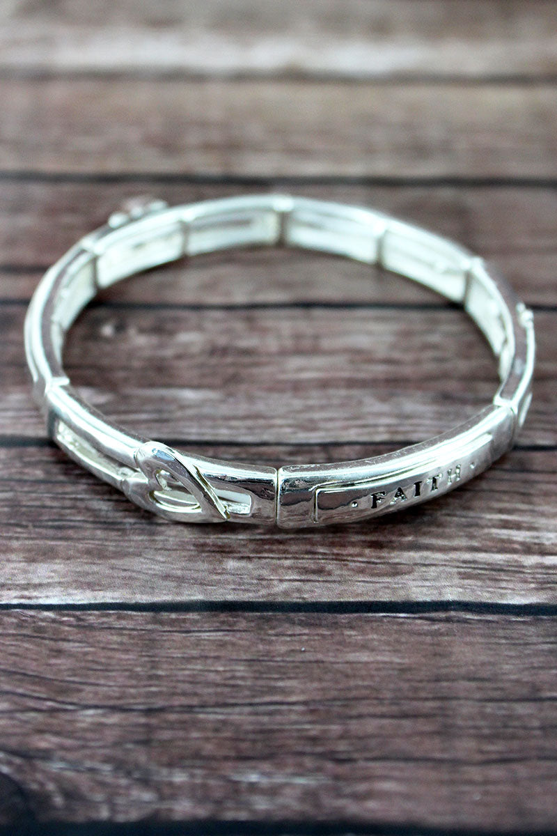 Silvertone 'Faith, Hope, Love' Stretch Bracelet