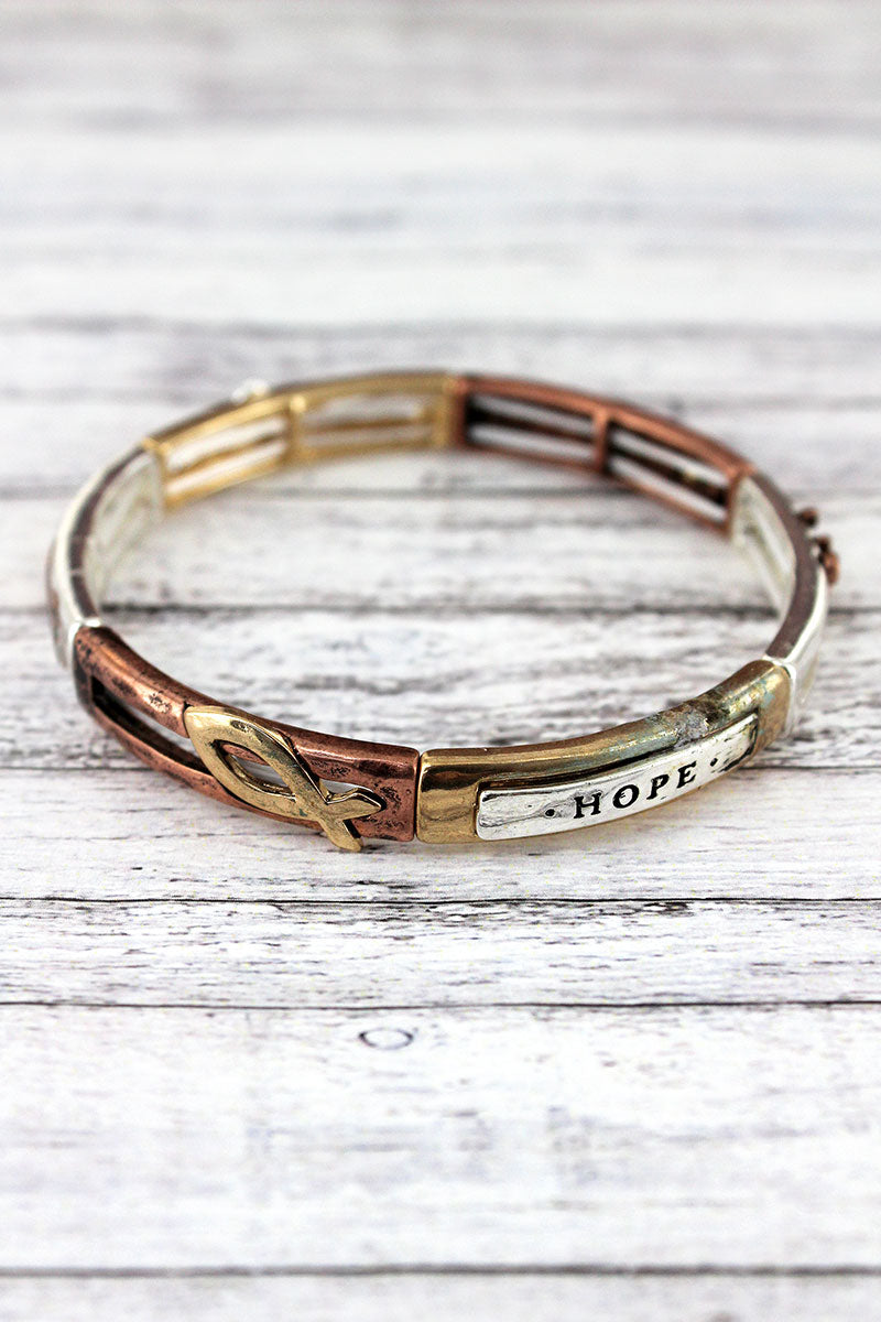 Tri-Tone 'Hope, Truth, Life' Stretch Bracelet