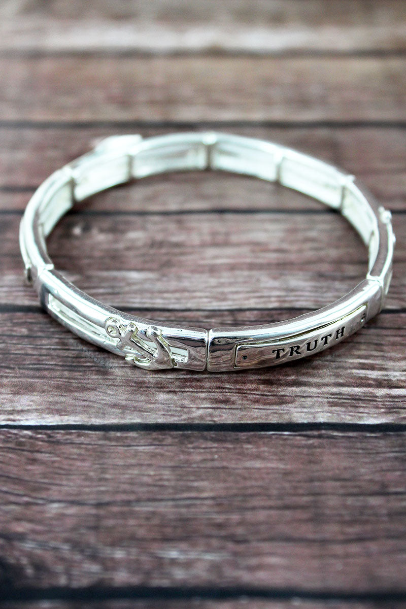 Silvertone 'Hope, Truth, Life' Stretch Bracelet