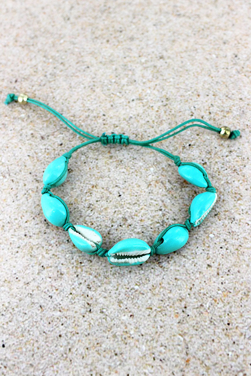 Blue Cowrie Shell Adjustable Cord Bracelet