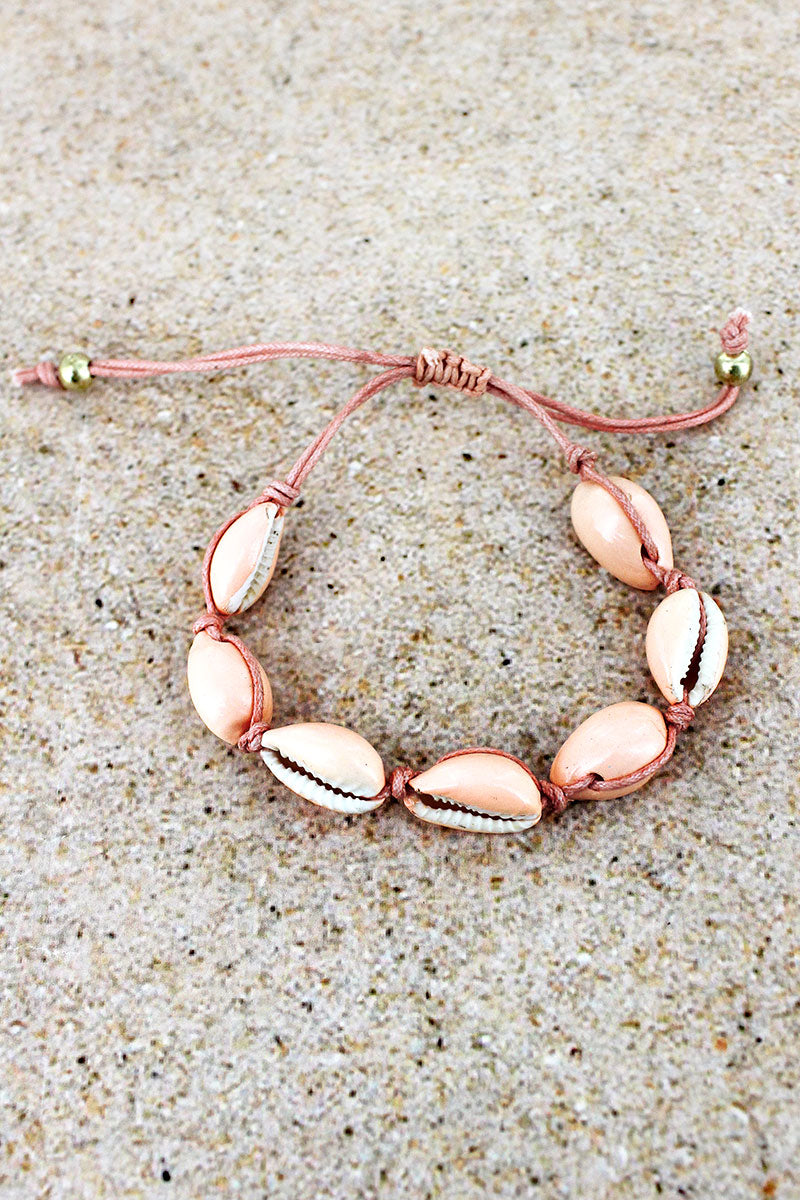 Pink Cowrie Shell Adjustable Cord Bracelet