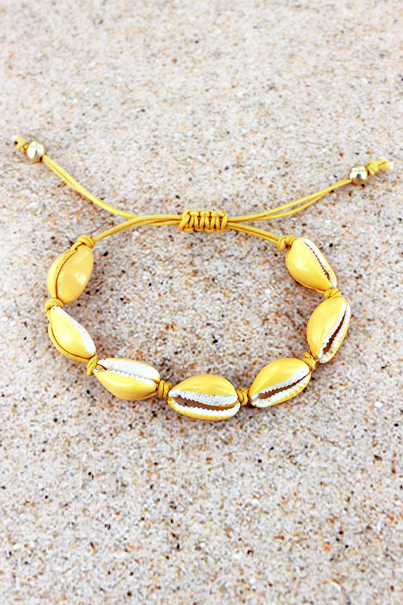 Yellow Cowrie Shell Adjustable Cord Bracelet