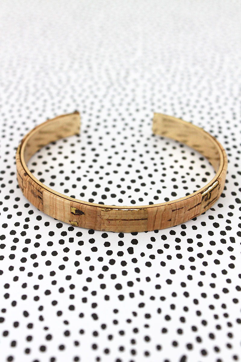 Natural Cork and Goldtone Thin Cuff Bracelet