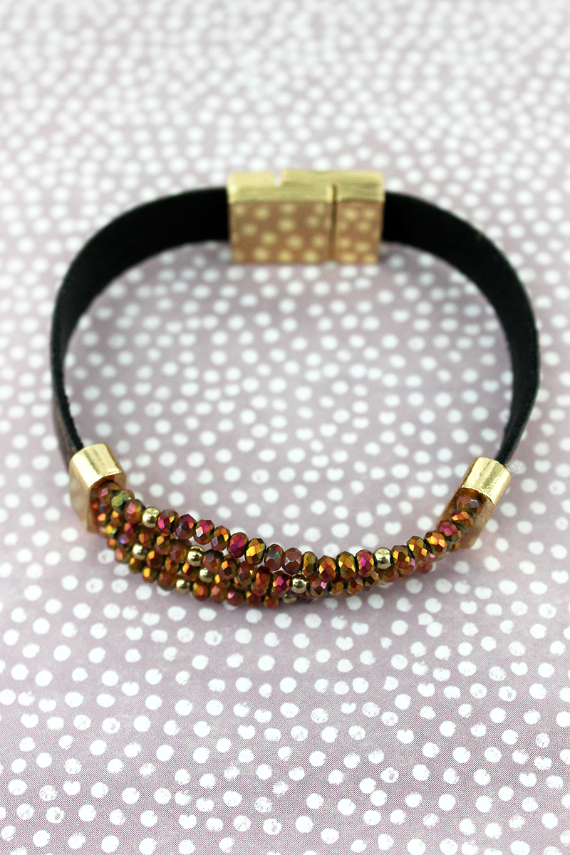 Brown and Leopard Faux Leather with Glass Bead Magnetic Bracelet