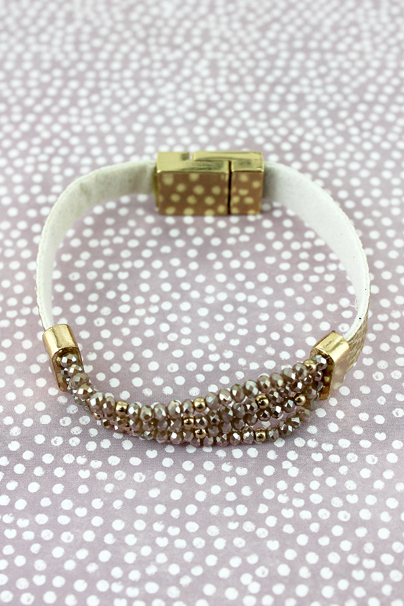 Gold and Snakeskin Faux Leather with Glass Bead Magnetic Bracelet