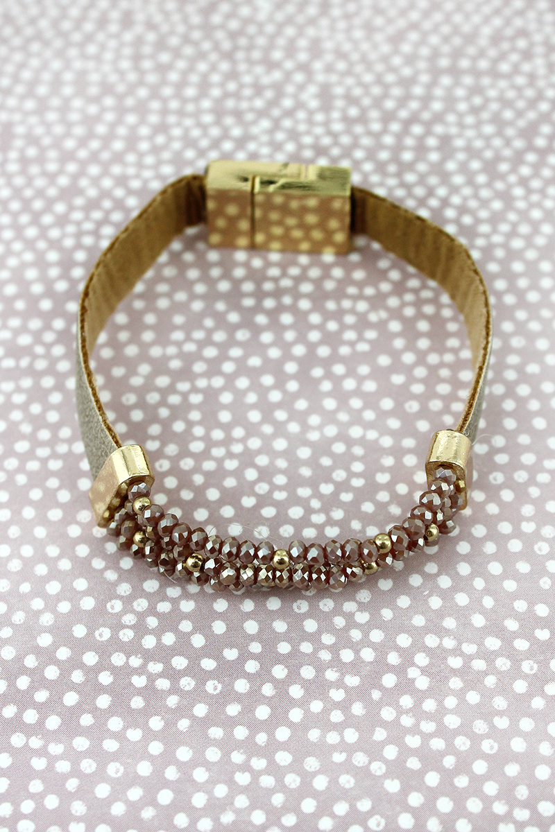 Light Brown Faux Leather with Glass Bead Magnetic Bracelet
