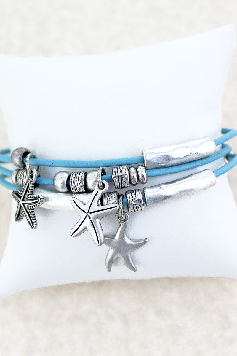 SALE! Starfish Charm Light Blue Cord Magnetic Bracelet