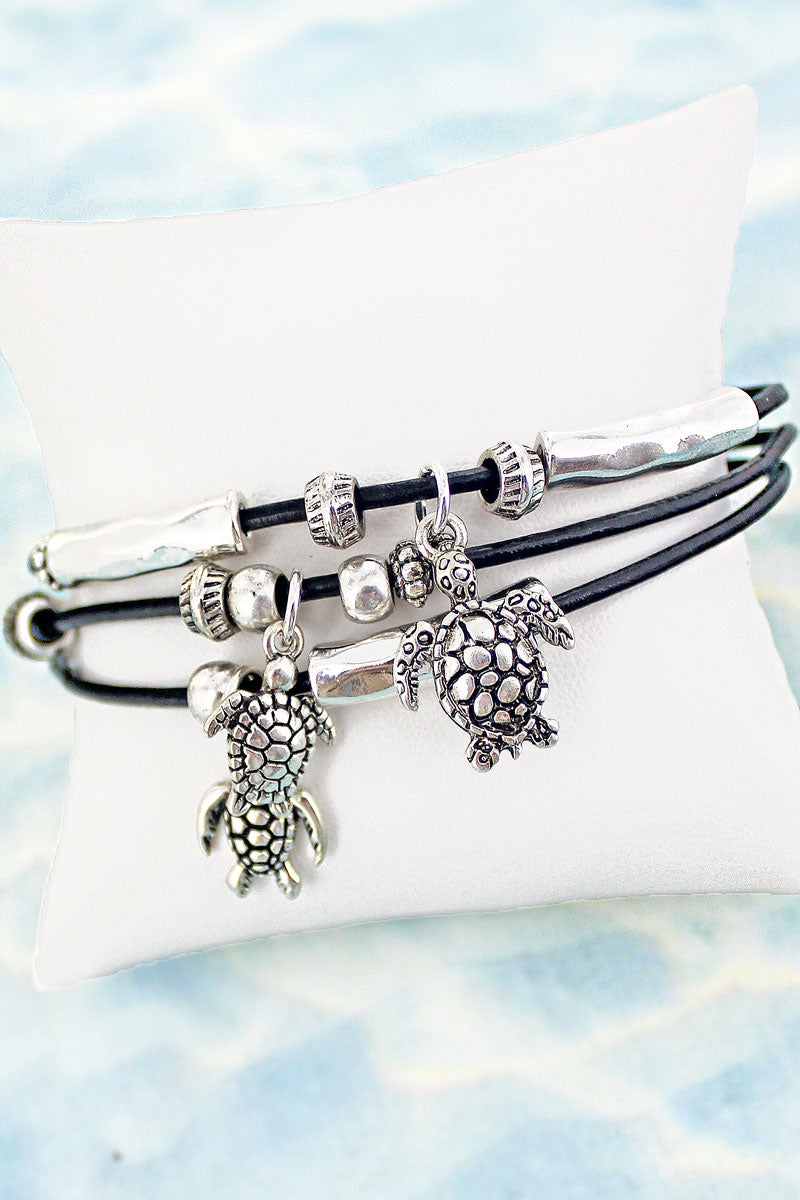 SALE! Turtle Charm Black Cord Magnetic Bracelet