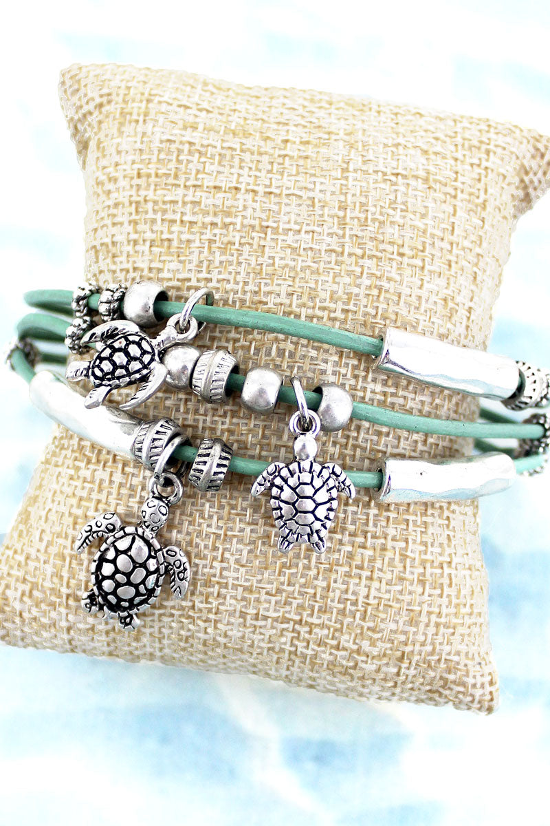 SALE! Turtle Charm Mint Cord Magnetic Bracelet