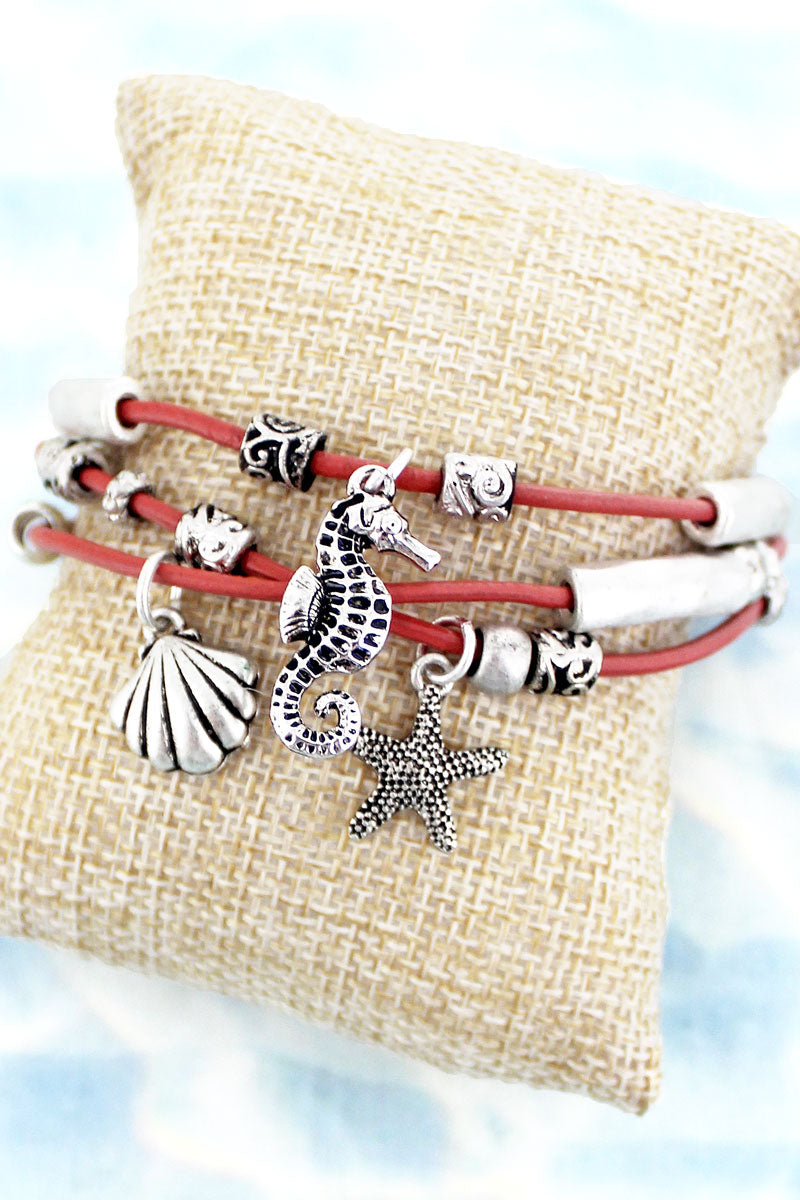SALE! Sea Life Charm Coral Cord Magnetic Bracelet