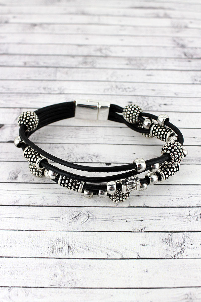 Silvertone Dot Textured Ball and Column Beaded Cord Magnetic Bracelet
