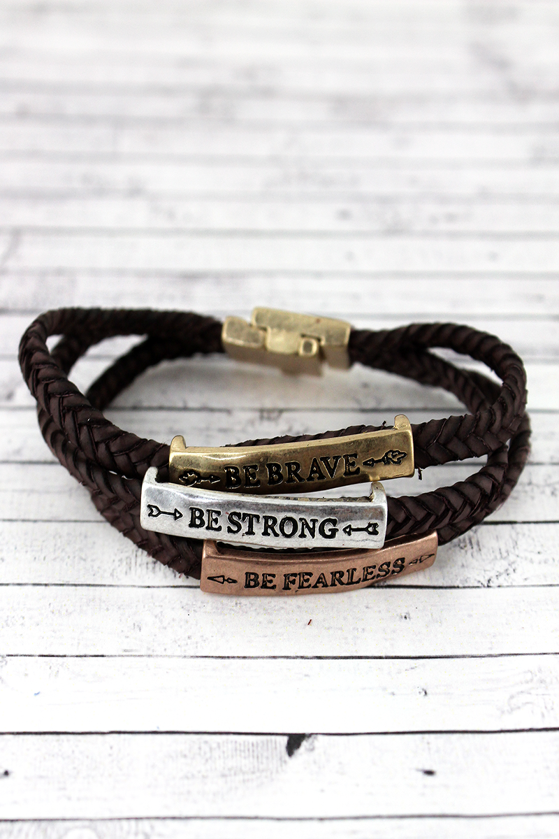 Tri-Tone 'Brave Strong Fearless' Brown Braided Cord Bracelet