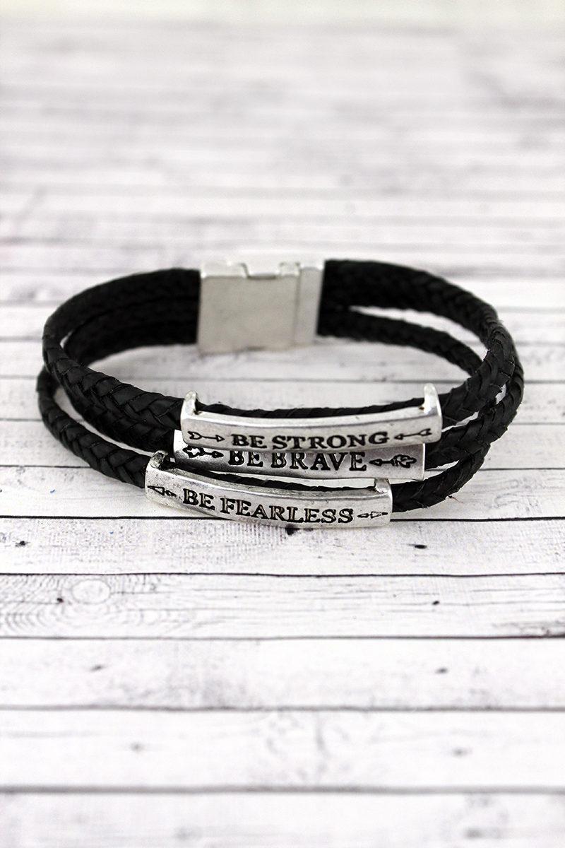 Silvertone 'Brave Strong Fearless' Black Braided Cord Bracelet