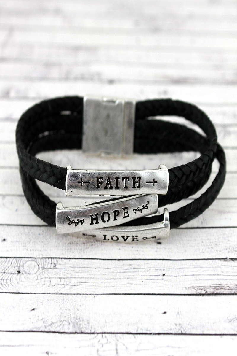 Silvertone 'Faith Hope Love' Black Braided Cord Bracelet