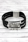 Silvertone 'She Believed She Could' Black Braided Cord Bracelet