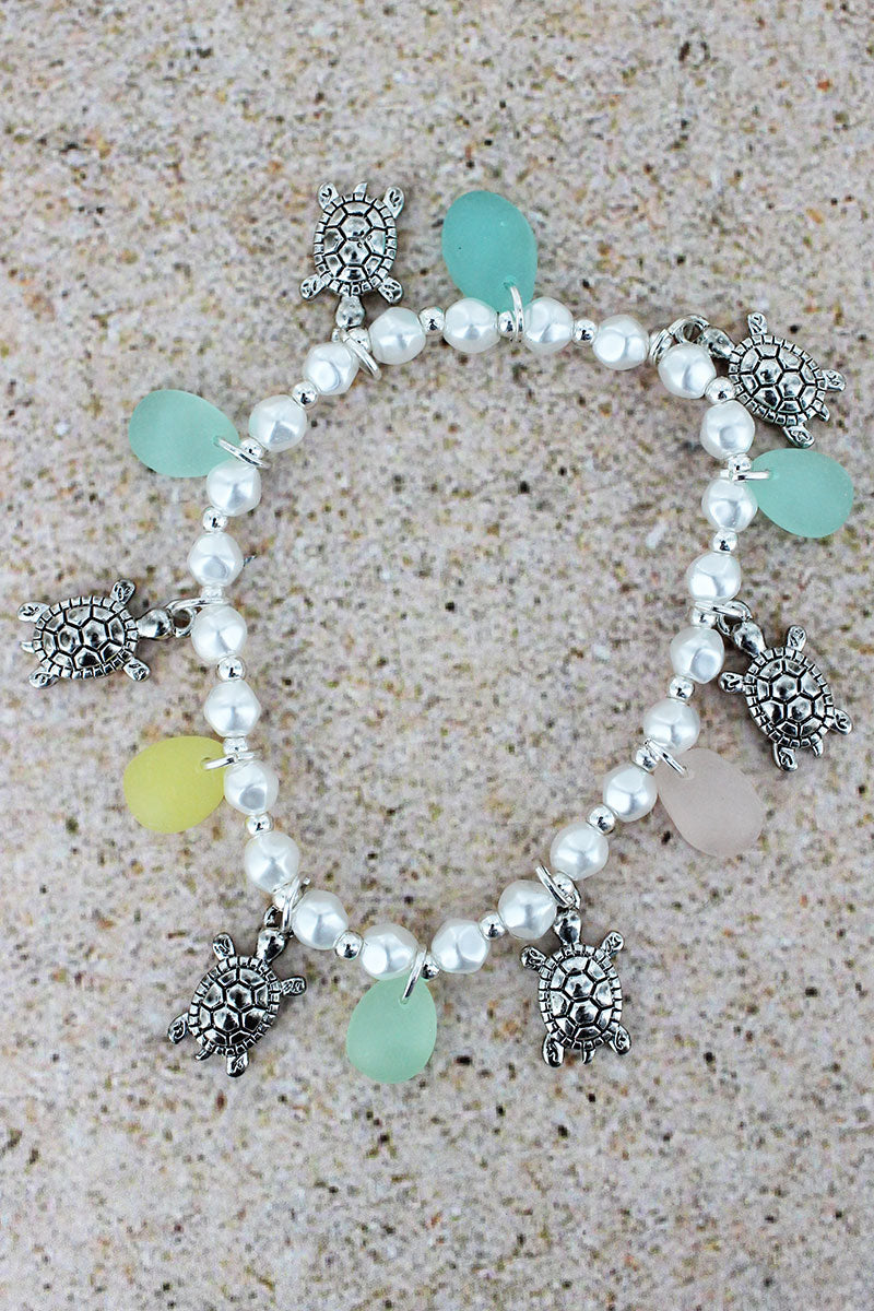Sea Glass and Turtle Charm Pearl Bracelet