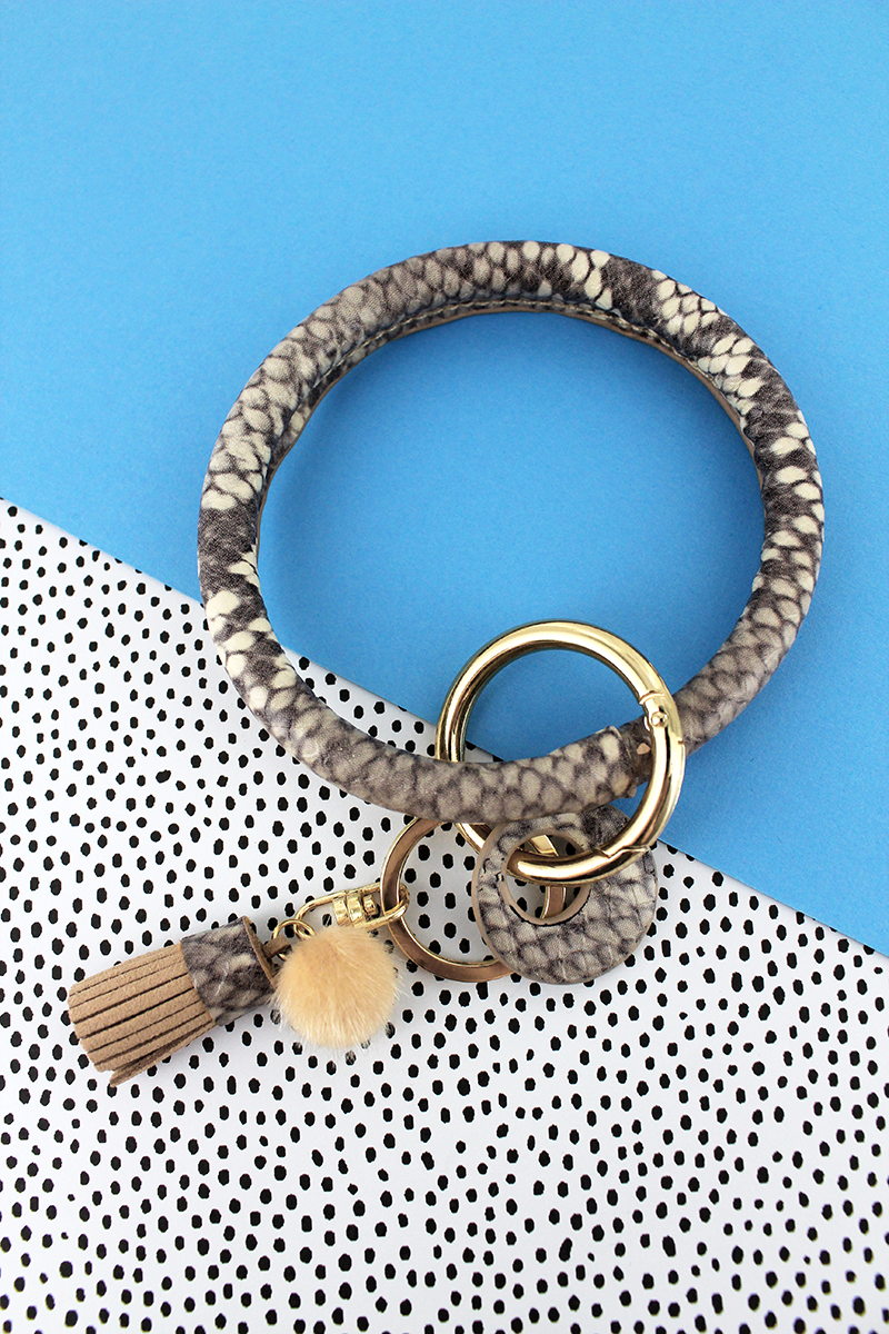 Faux Brown and Ivory Python Tassel Bangle Keychain