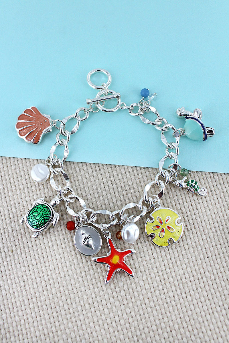 Sea Life Themed Silvertone Charm Toggle Bracelet