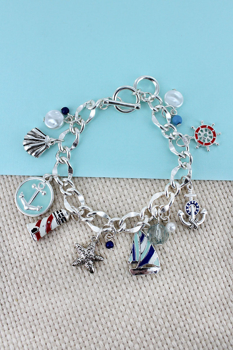 Nautical Themed Silvertone Charm Toggle Bracelet