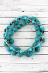 Turquoise Stone and Glass Beaded Bracelet Set
