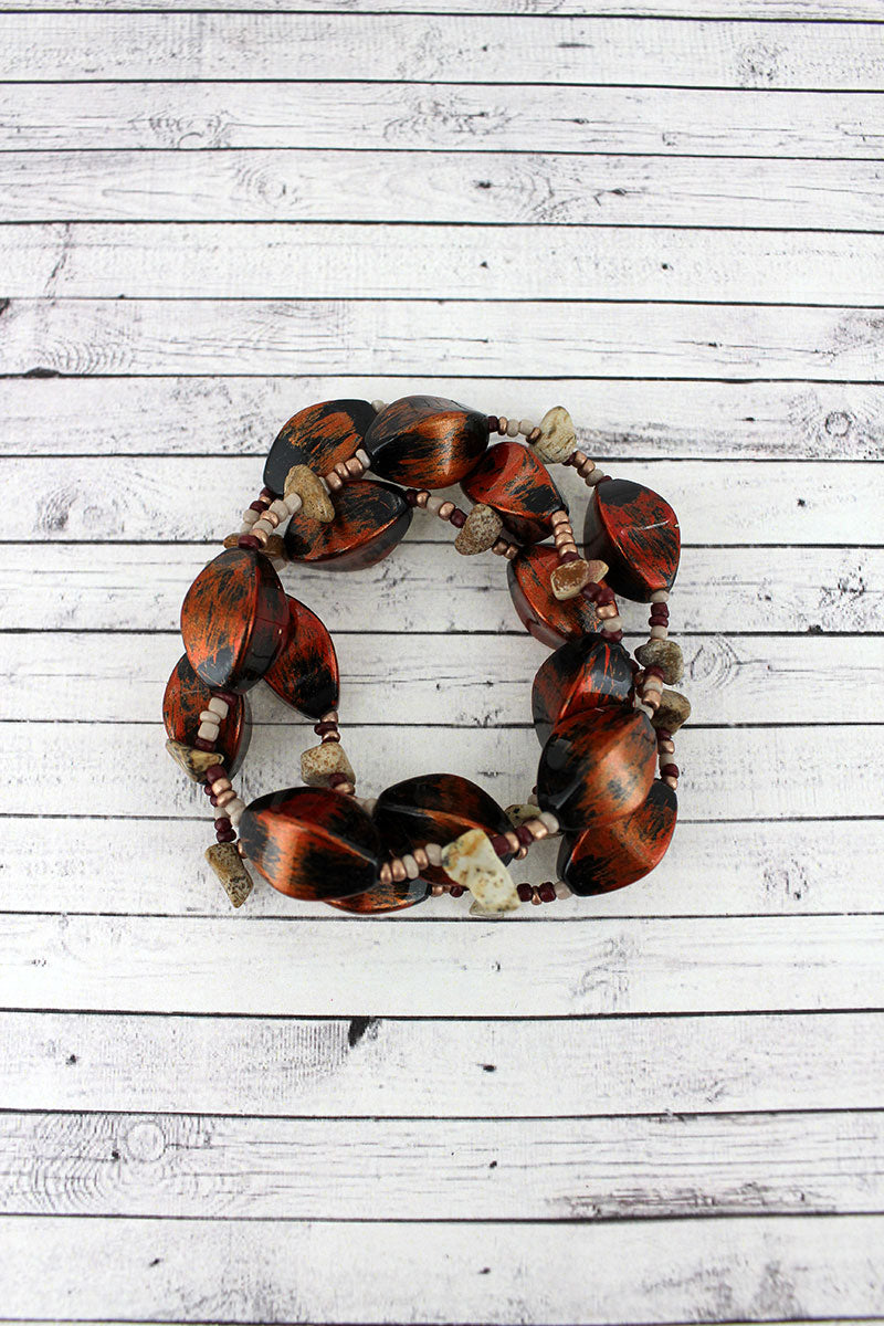 Brushed Copper Mixed Bead Bracelet Set