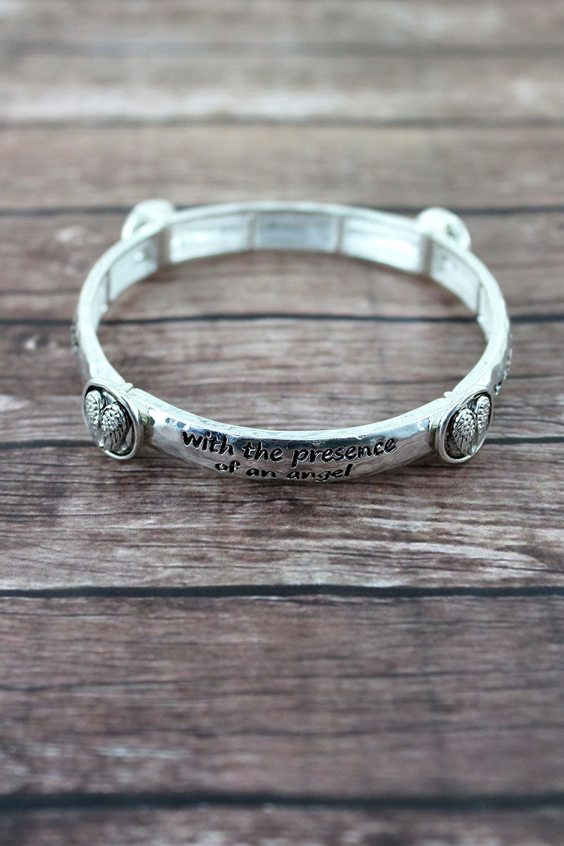 Silvertone 'Angel Blessing' Wing Station Bracelet