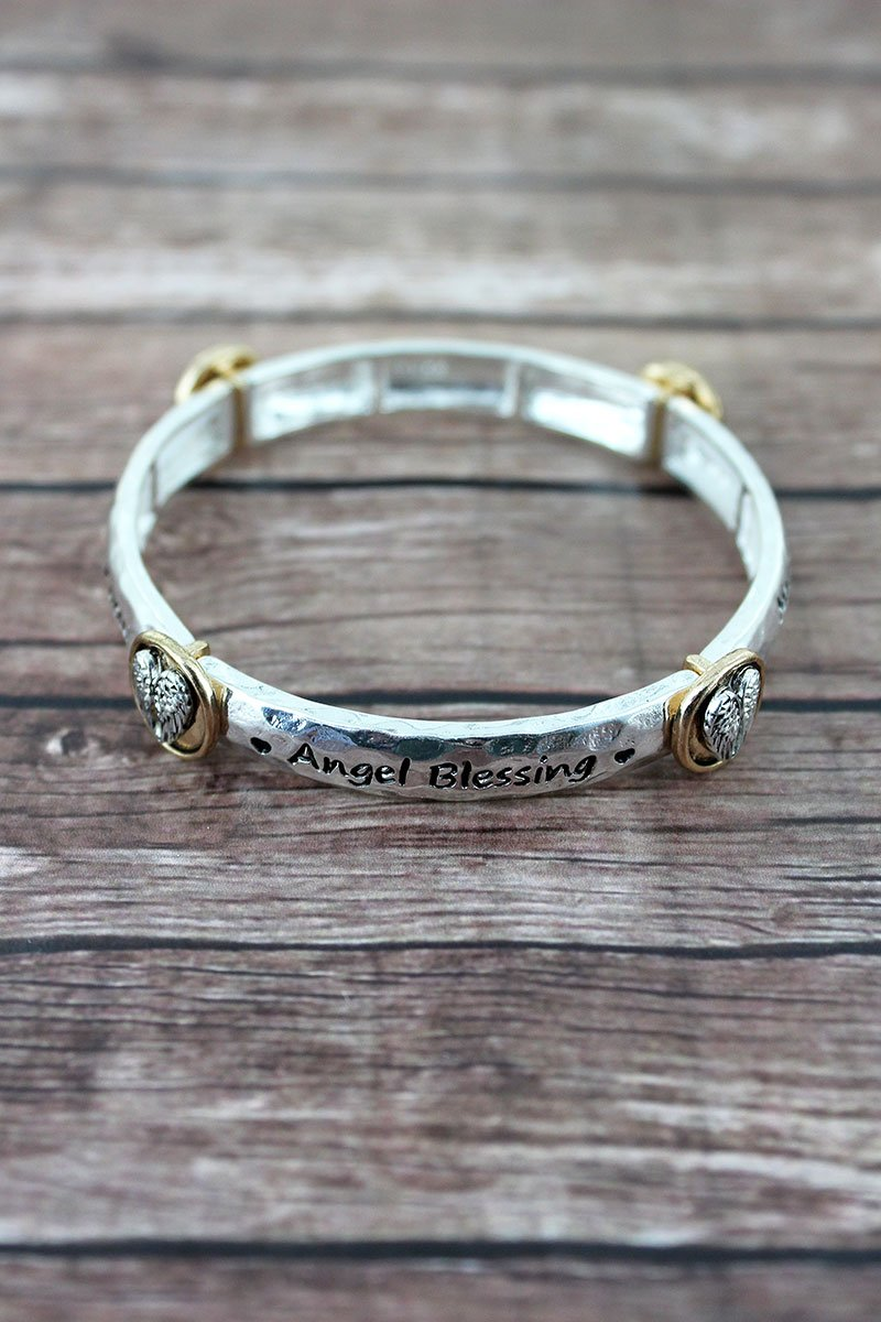 Two-Tone 'Angel Blessing' Wing Station Bracelet
