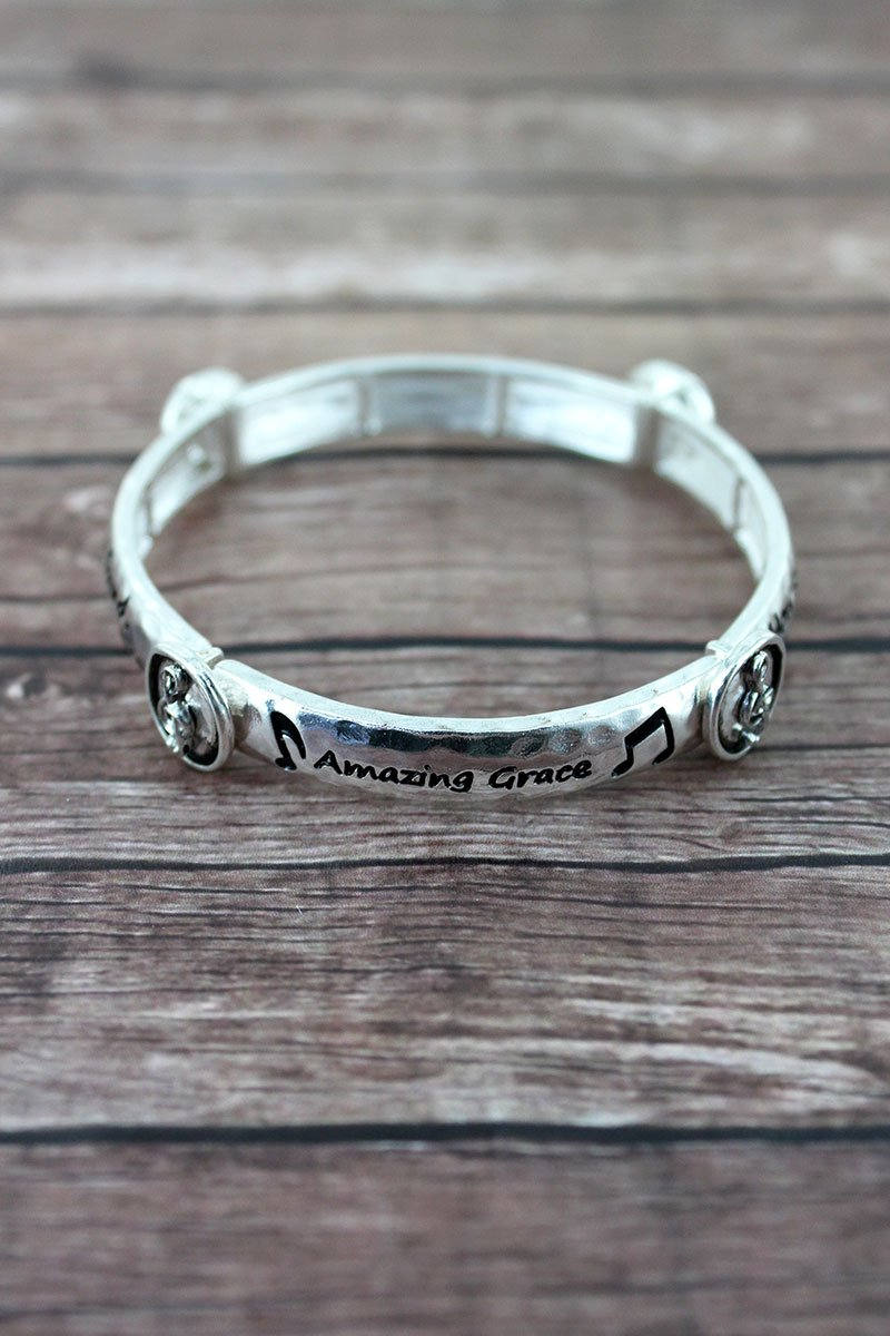 Silvertone 'Amazing Grace' Treble Clef Station Bracelet