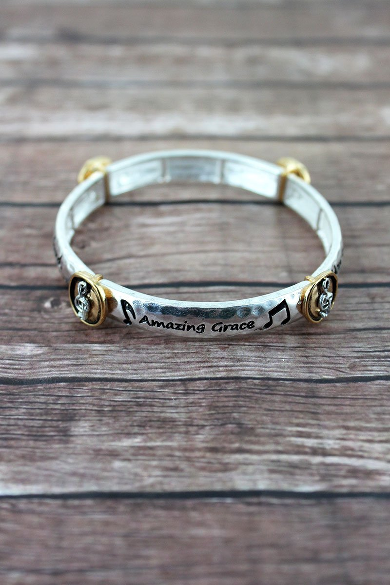 Two-Tone 'Amazing Grace' Treble Clef Station Bracelet