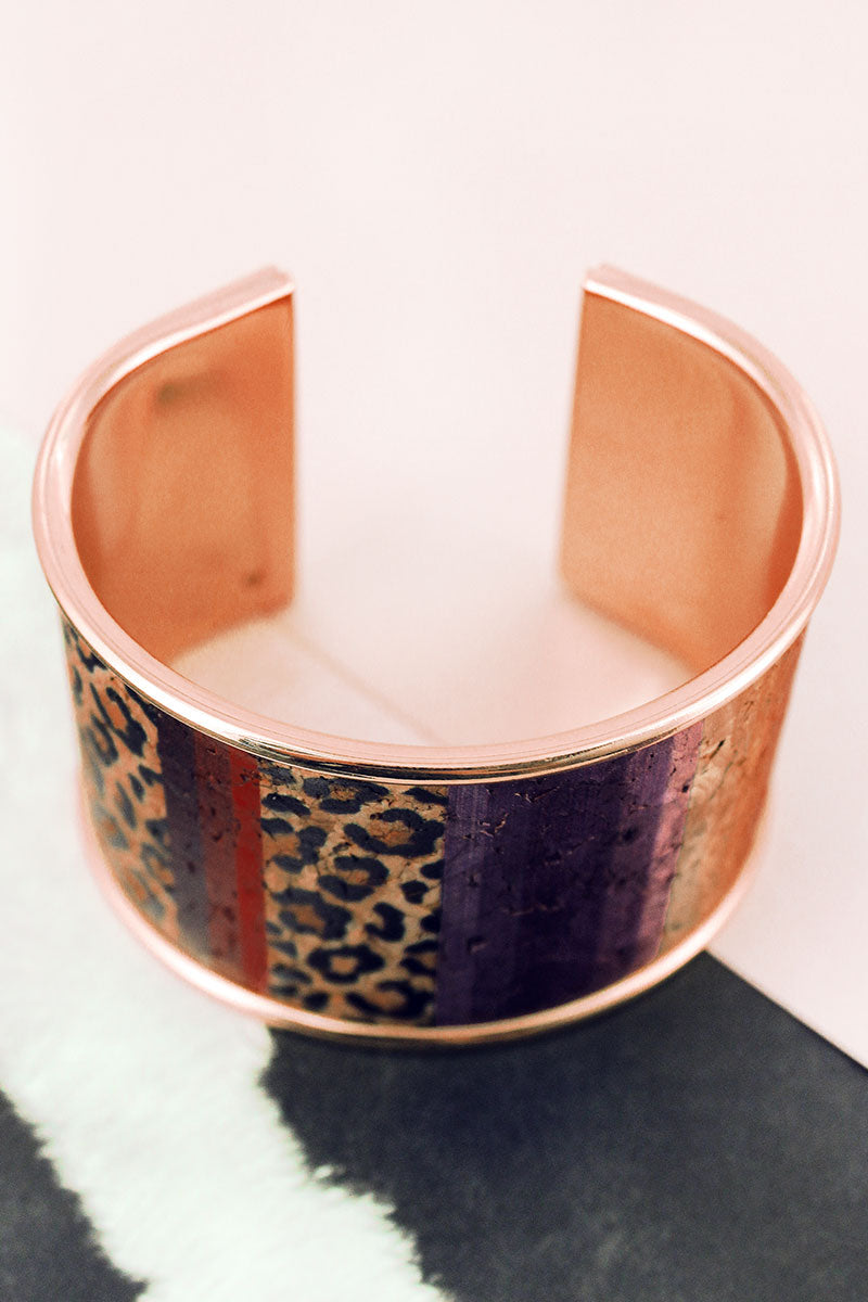 Leopard Stripe Cork and Goldtone Cuff Bracelet