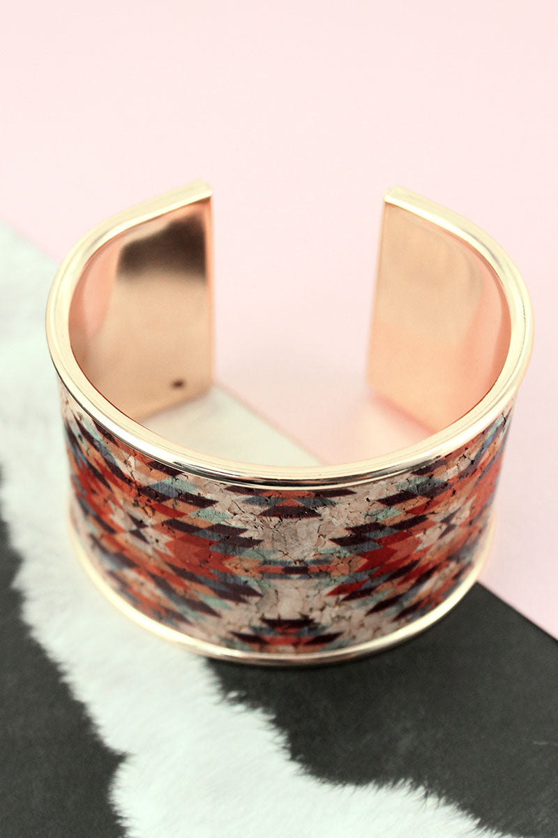Southwestern Cork and Goldtone Cuff Bracelet