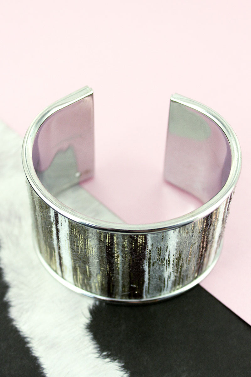 Gray and Gold Metallic Fuzzy Striped Silvertone Cuff Bracelet