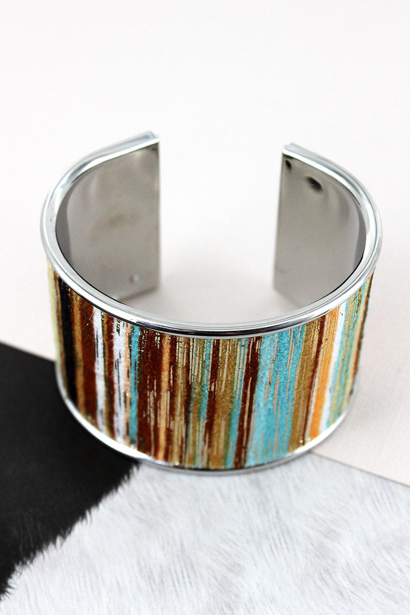 Multi-Color and Gold Metallic Fuzzy Striped Silvertone Cuff Bracelet