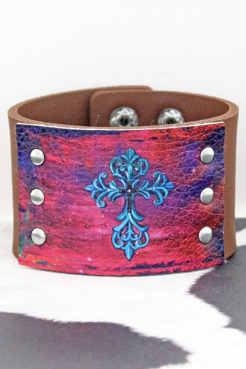 Pink Ombre with Blue Cross Brown Faux Leather Cuff Bracelet
