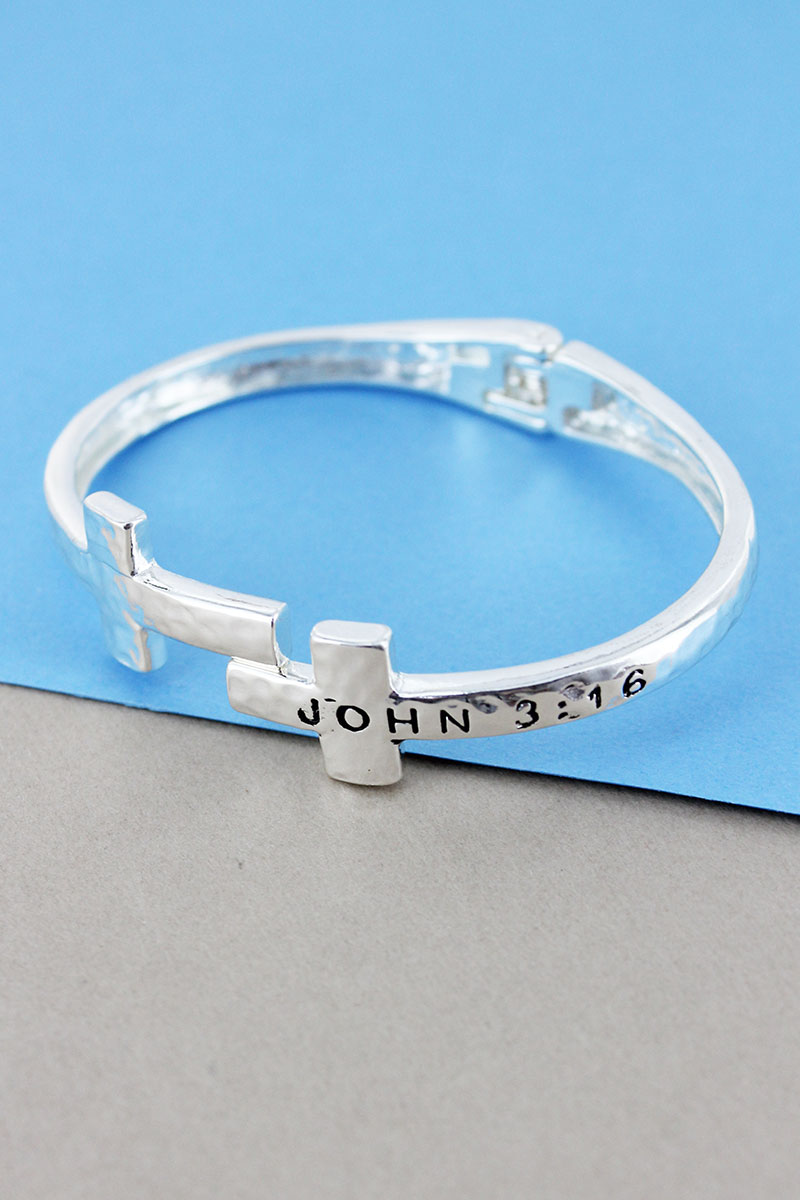 Hammered Silvertone John 3:16 Double Cross Hinge Bracelet