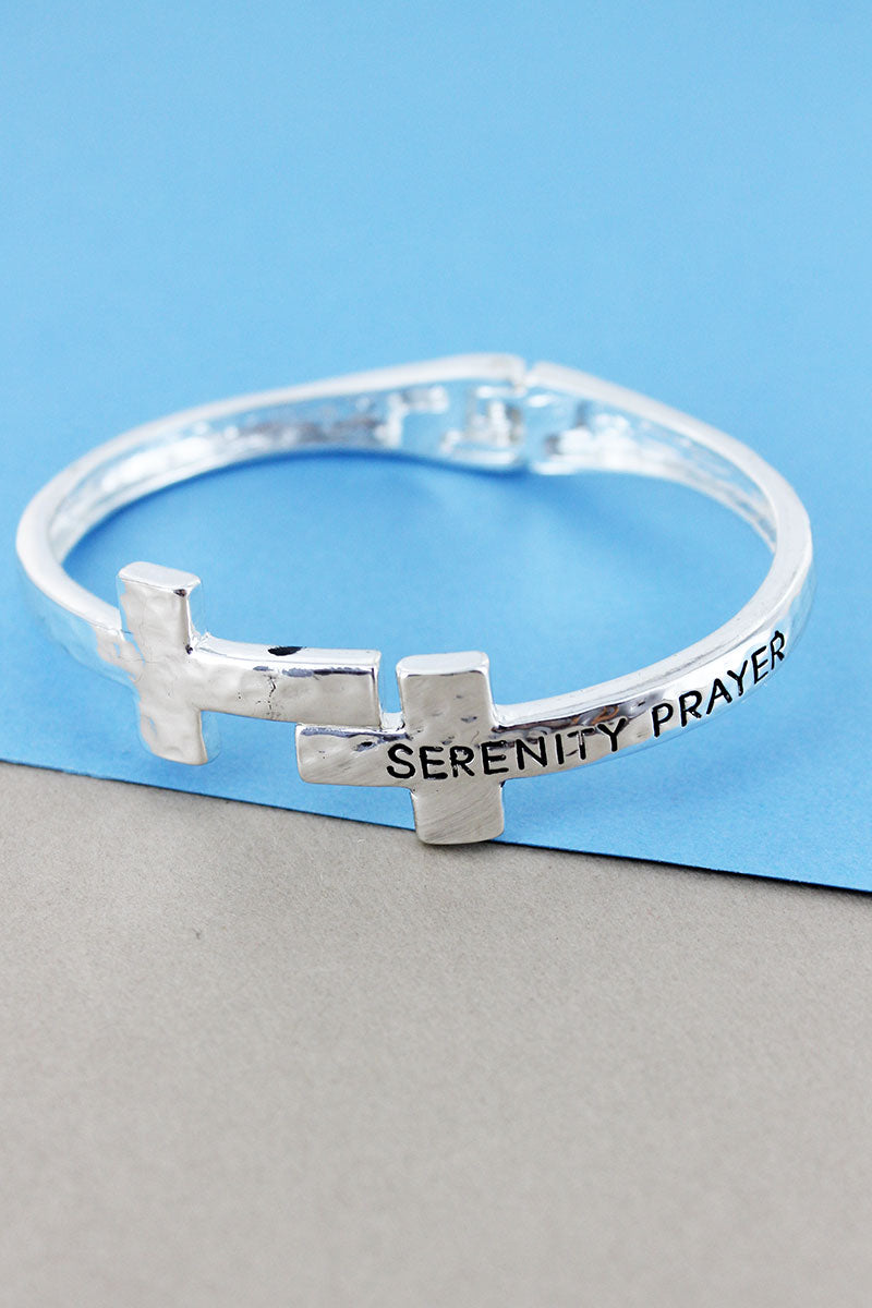 Hammered Silvertone Serenity Prayer Double Cross Hinge Bracelet