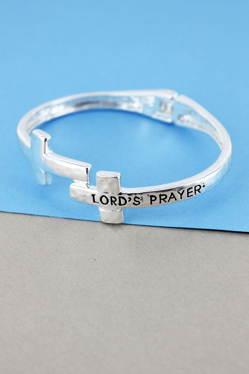 Hammered Silvertone Lord's Prayer Double Cross Hinge Bracelet