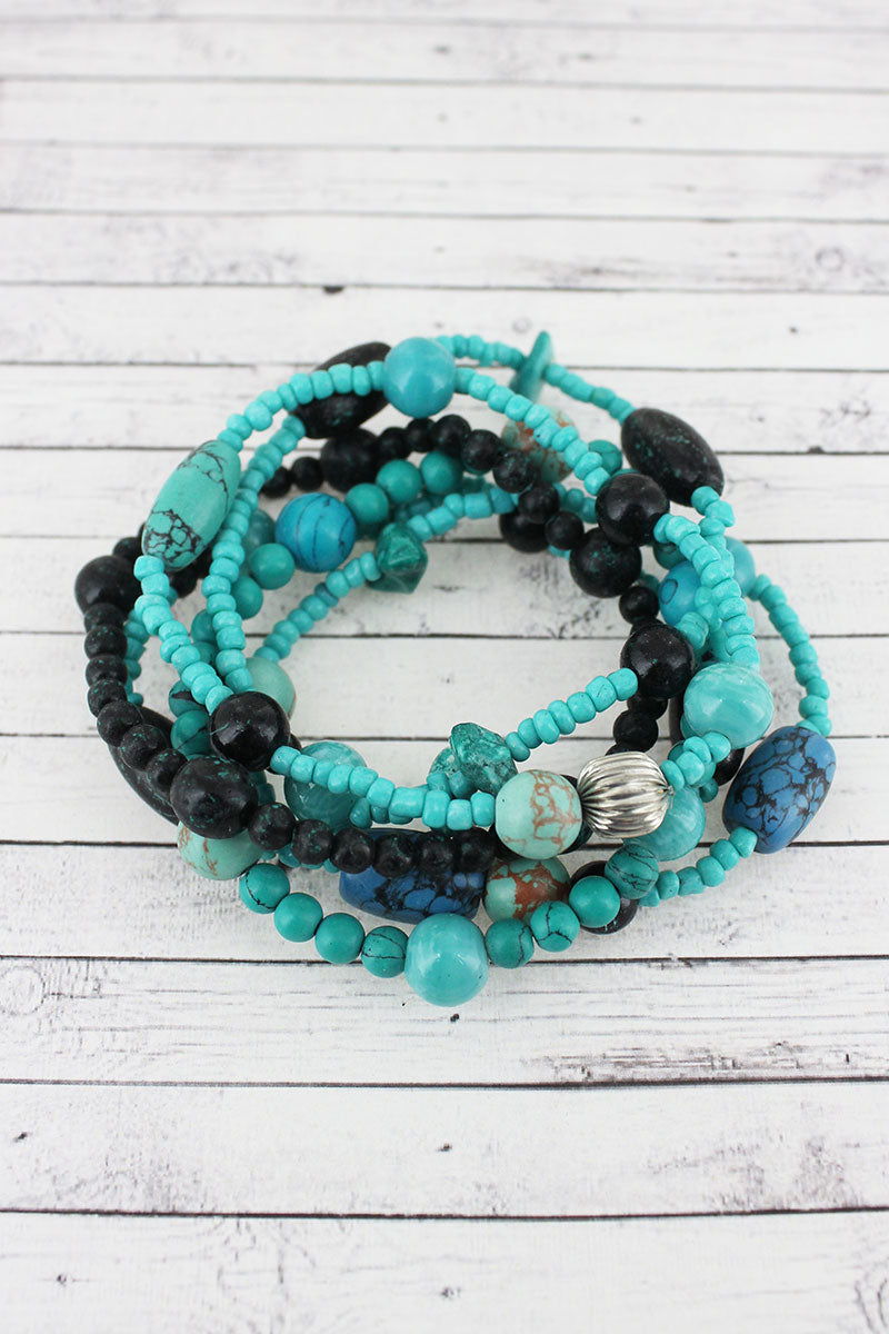 Multi-Blue and Black Clay Mixed Bead Bracelet Set