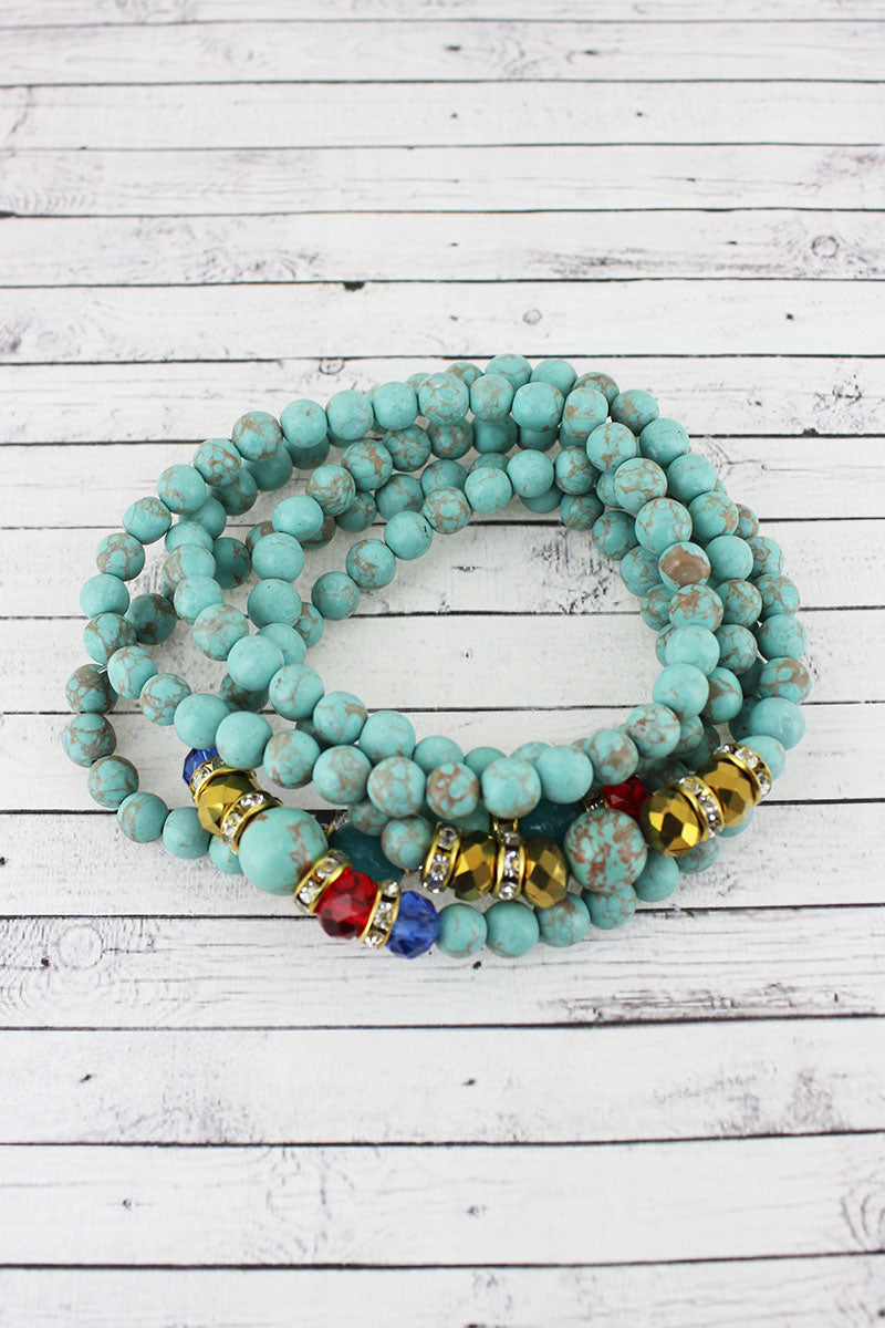 Multi-Color Clay and Glass Beaded Bracelet Set