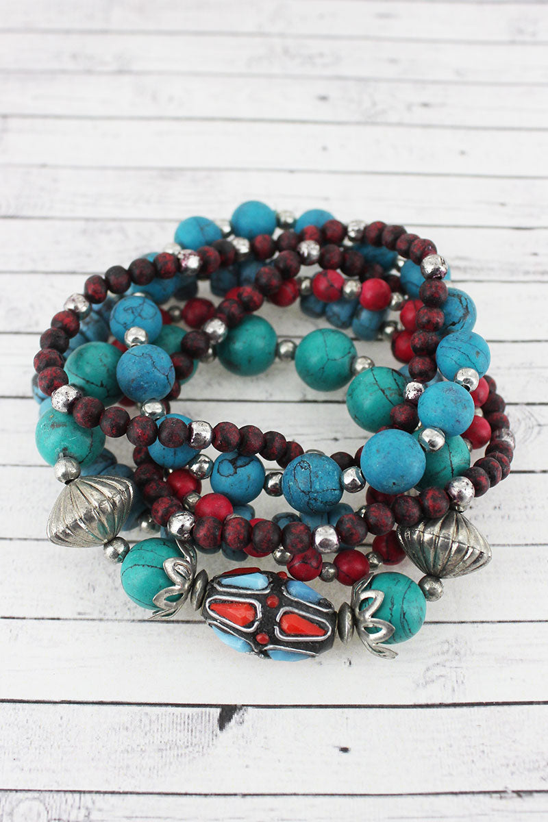 Multi-Color Stone & Clay Bead Bracelet Set