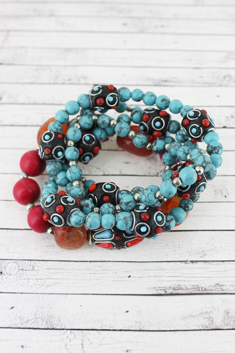Turquoise, Red, and Orange Stone & Clay Bead Bracelet Set