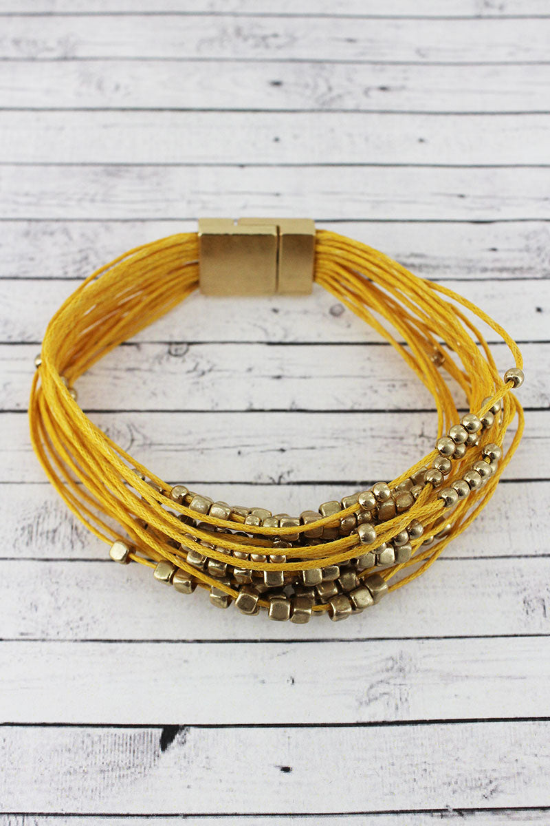 Goldtone Cube Beaded Yellow Multi-Cord Magnetic Bracelet