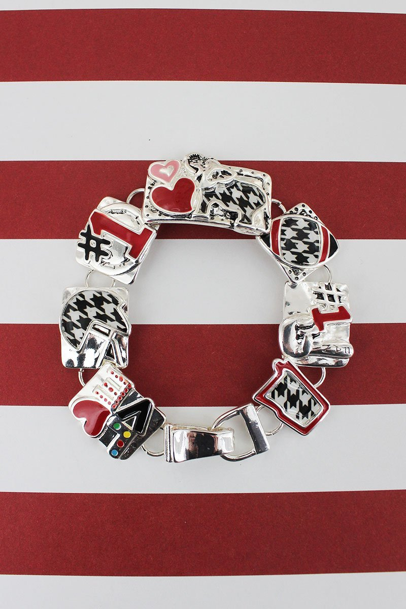 Houndstooth and Red Alabama Football Silvertone Magnetic Bracelet